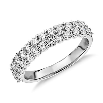 Bague en diamant double rang Aria en or blanc 18carats (1,15carats, poids total)