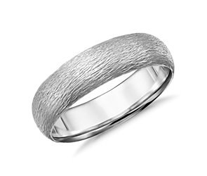 Artisan Mid-weight Comfort Fit Wedding Ring in 14k White Gold (6mm)