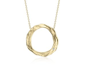 Artisan Circular Necklace in Satin 14k Yellow Gold