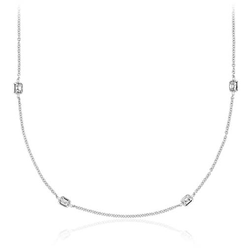 Fancies by the Yard Asscher-Cut Bezel Diamond Necklace in 18k White Gold (20