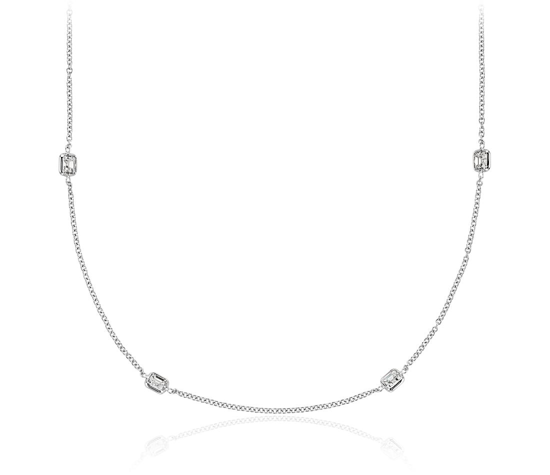 "Fancies by the Yard Asscher-Cut Bezel Diamond Necklace in 18k White Gold (40"" Long)"