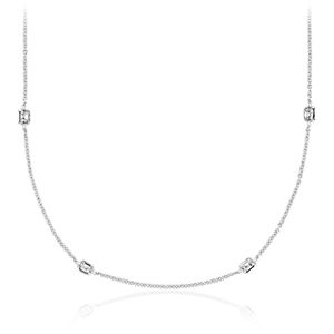 Collar de diamantes en bisel de talla Asscher Fancies by the Yard en oro blanco de 18 k (4 1/2 qt. total)