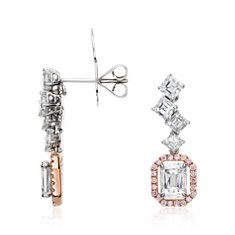 Asscher, Brilliant Emerald Cut Diamond Halo Earrings in 18k White and Rose Gold