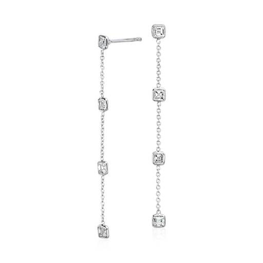 Aretes colgantes de diamantes en bisel de talla Asscher Fancies by the Yard en oro blanco de 18 k (1,50 qt. total)