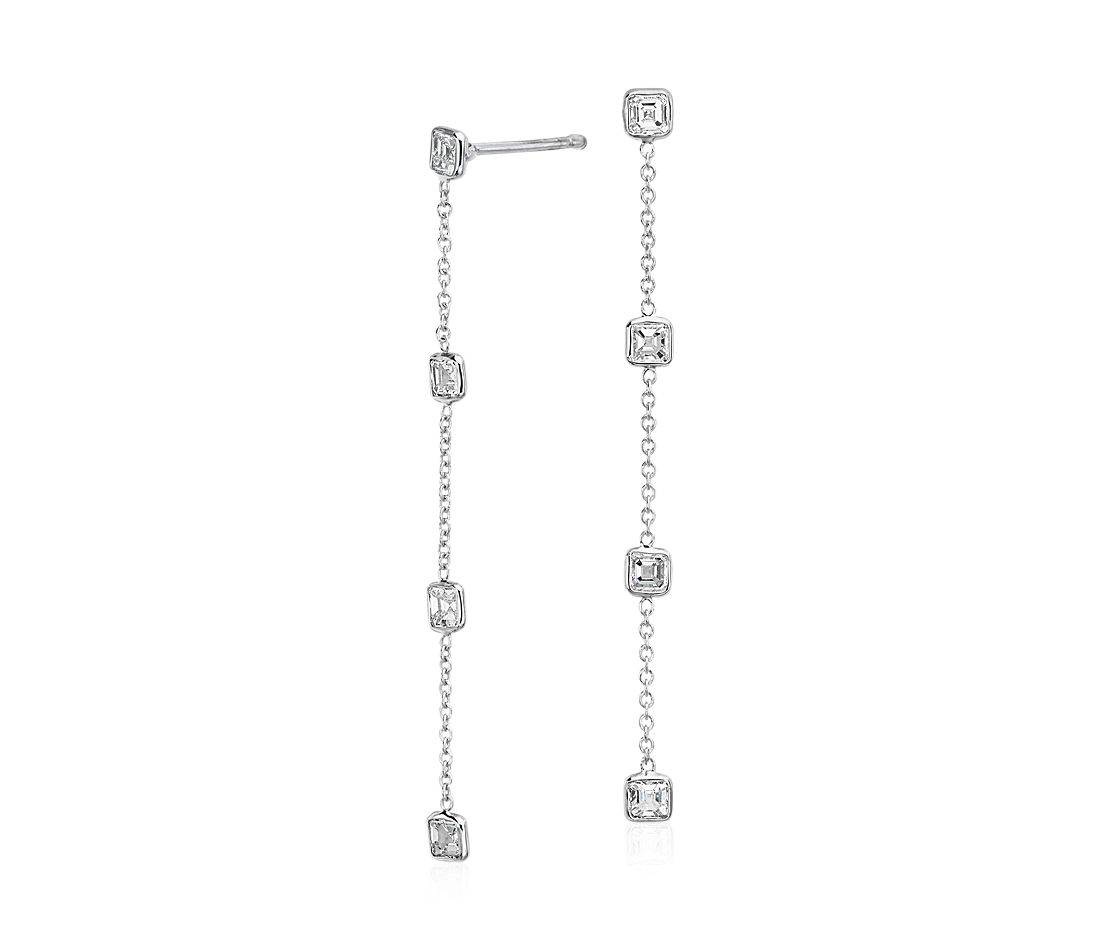Fancies by the Yard Asscher-Cut Bezel Diamond Drop Earrings in 18k White Gold (1.50 ct. tw.)