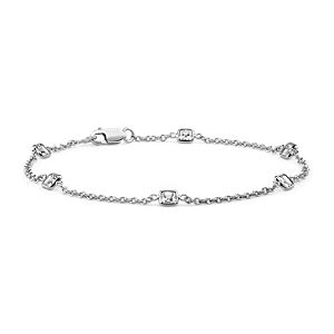 Fancies by the Yard Asscher-Cut Bezel Diamond Bracelet in 18k White Gold (1.20 ct. tw.)
