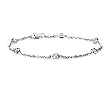 Fantaisies avec le bracelet diamants taille Asscher Yard sertis clos en or blanc 18carats (1,20carats, poids total)
