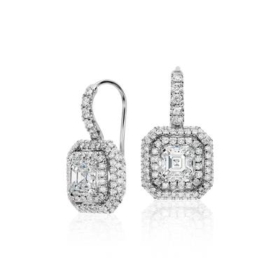 Aretes tipo argolla con diamantes de talla Asscher en oro blanco de 18k (2,69 qt. total)