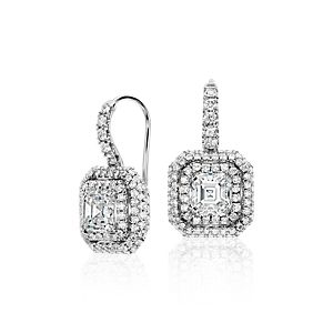 Asscher-Cut Diamond Double Halo Drop Earrings in 18k White Gold (2.69 ct. tw.)