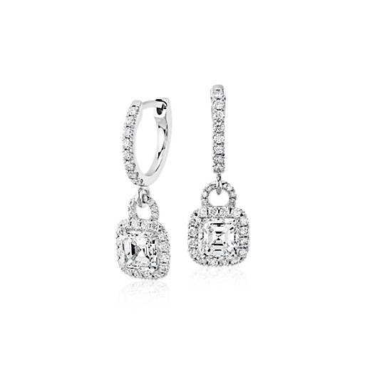 NEW Asscher-Cut Diamond Halo Drop Earrings in 18k White Gold (1.50 ct. tw.)