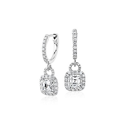 Asscher-Cut Diamond Halo Drop Earrings in 18k White Gold (1.50 ct. tw.)