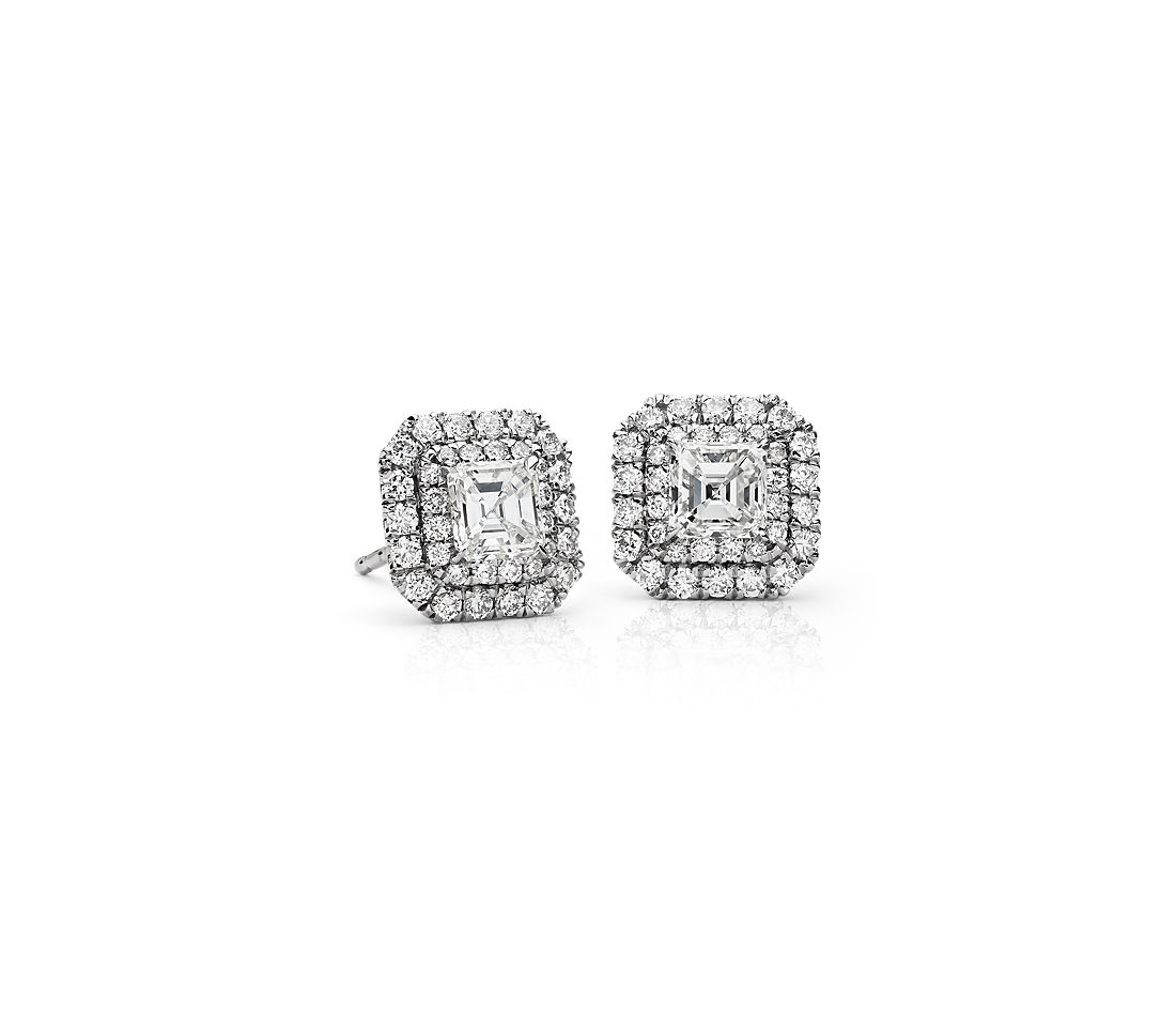 Asscher-Cut Diamond Double Halo Earrings in 18k White Gold (1.18 ct. tw.)