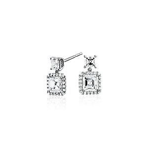 Asscher-Cut Diamond Drop Halo Earrings in 18k White Gold (1.50ct. tw.)