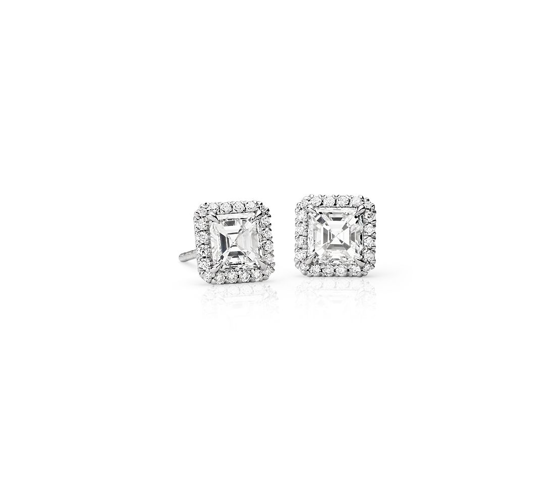 Asscher-Cut Diamond Halo Earrings in 18k White Gold (1.30 ct. tw.)
