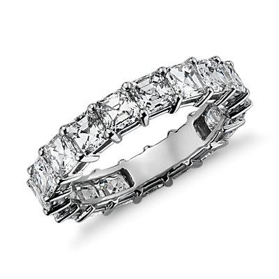 Bague d'éternité diamant taille Asscher en platine (4carats, poids total)
