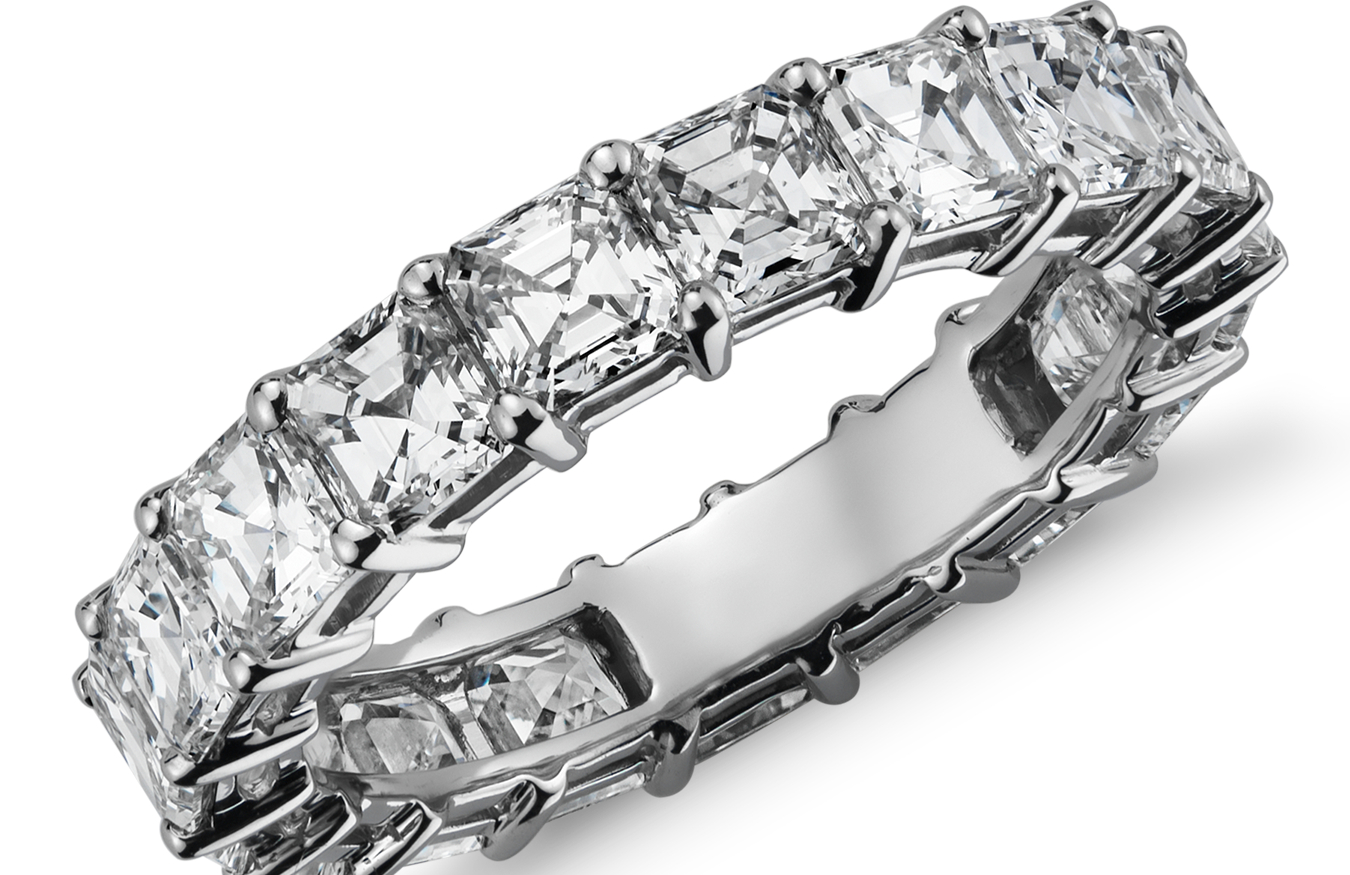 Asscher-Cut Diamond Eternity Rings in Platinum