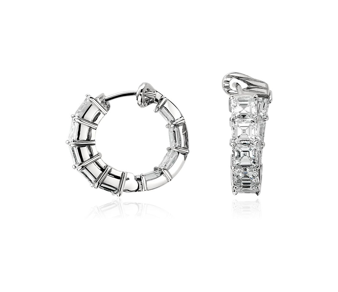 Asscher-Cut Hoop Diamond Earrings in Platinum (7.50 ct. tw.)