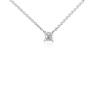 Pendentif solitaire diamant Asscher en or blanc 14carats (1/3carat, poids total)