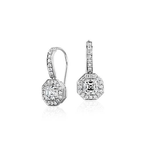 Asscher Cut Diamond Halo Drop Earrings in 18k White Gold (1.10 ct. tw.)