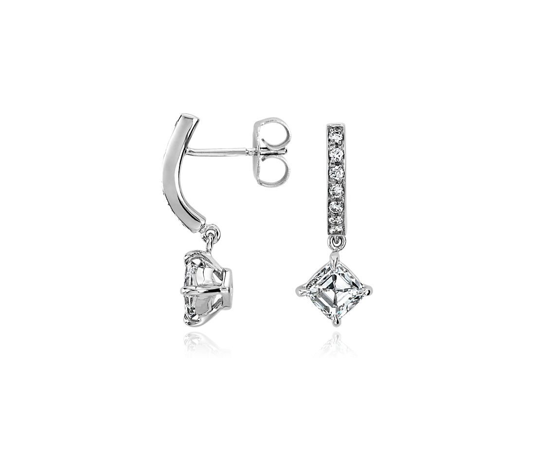 Asscher Diamond Earrings in 18k White Gold (1.25 ct. tw.)