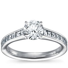 Channel Set Asscher Cut Diamond Engagement Ring in Platinum (1/2 ct. tw.)