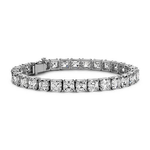 Brazalete de diamantes de eternidad de talla Asscher en platino (29.13 qt. total)