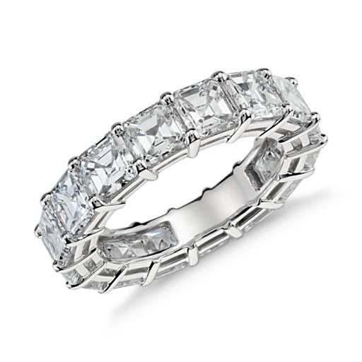 Bague d'éternité diamant taille Asscher en platine (7,00 carat, poids total)