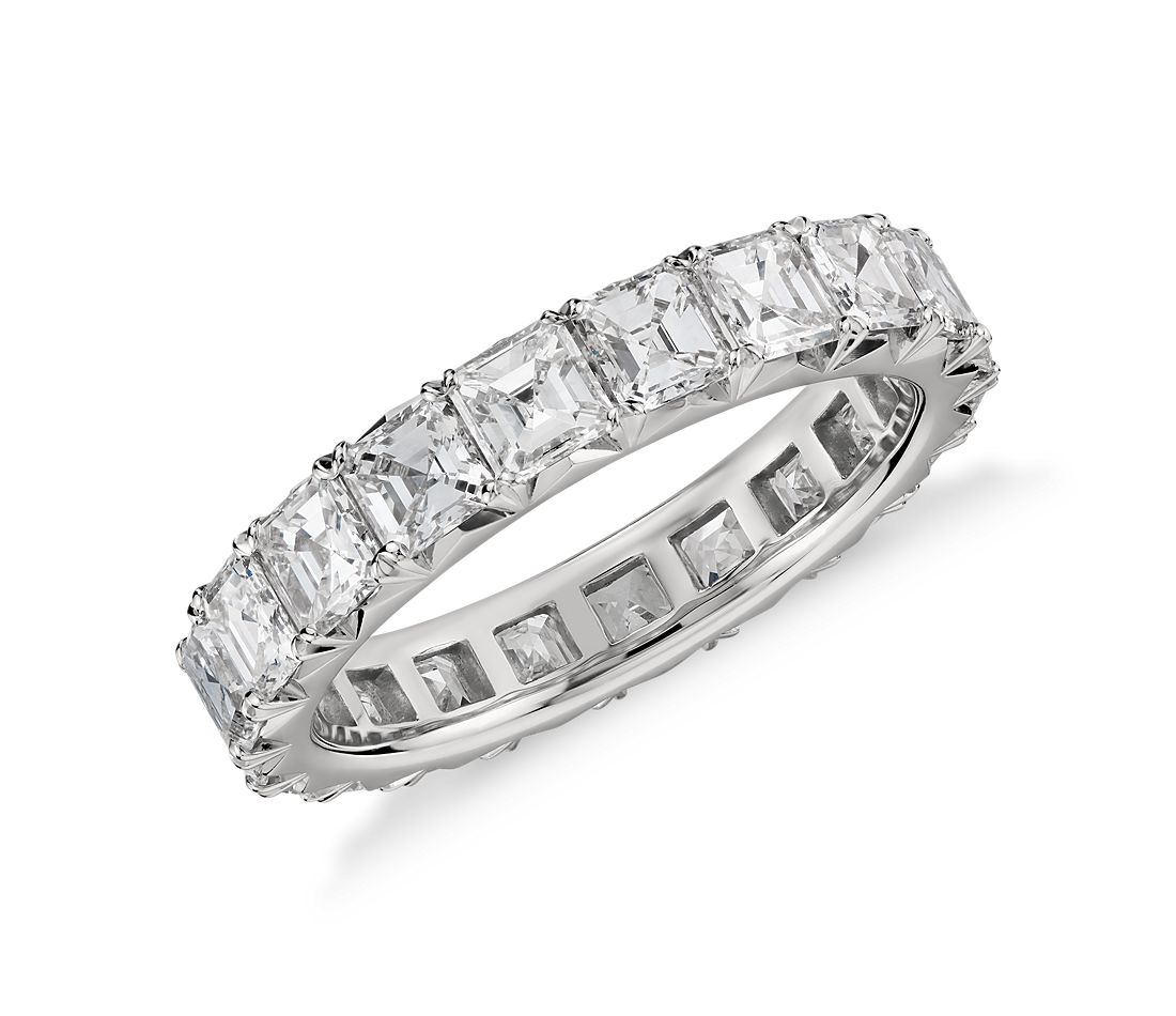French Pavé Asscher-Cut Diamond Eternity Ring in Platinum (3 ct. tw.)