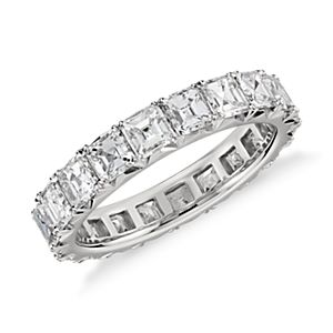 Blue Nile Studio French Pavé Asscher-Cut Diamond Eternity Ring in Platinum (3 ct. tw.)
