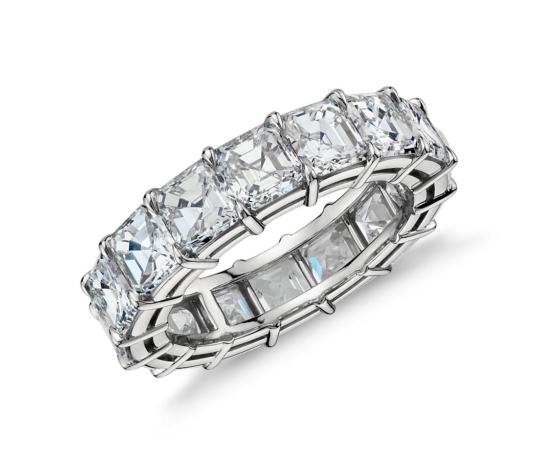 Asscher Cut Diamond Eternity Ring in Platinum (8.00 ct. tw.)