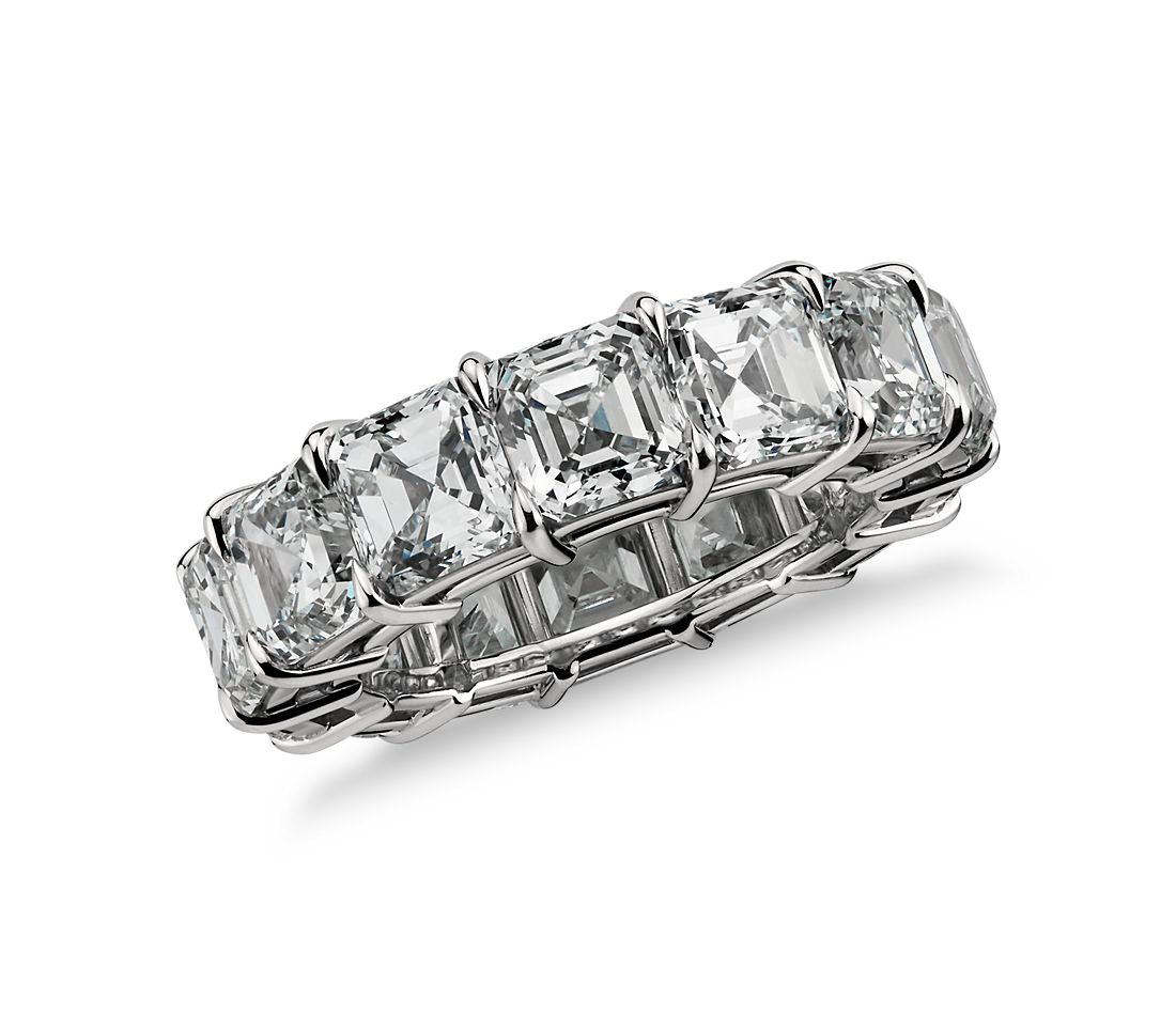 Asscher Cut Diamond Eternity Ring in Platinum (14 ct. tw.)