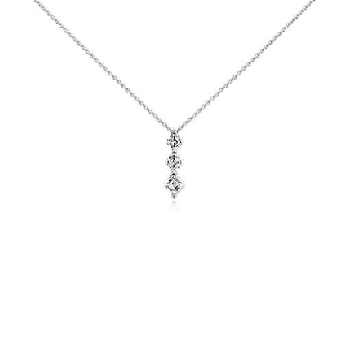 Pendentif trois pierres diamant taille Asscher en platine (3/4carat, poids total)