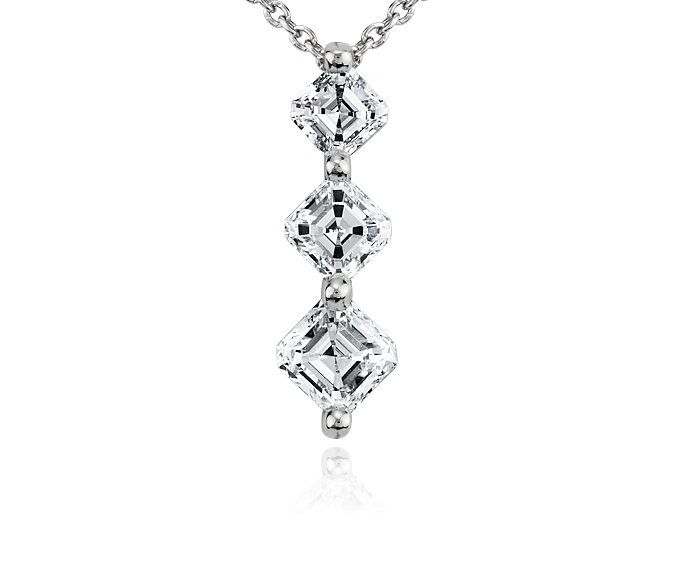 Asscher-Cut Three-Stone Diamond Pendant in Platinum (3/4 ct. tw.)