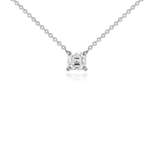Pendentif solitaire diamant Asscher en or blanc 14carats (3/4carat, poids total)
