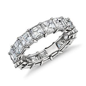 Bague d'éternité diamant taille Asscher en platine (6.9carats, poids total)