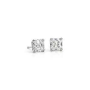 NEW Asscher Diamond Stud Earrings in Platinum (2 ct. tw.)