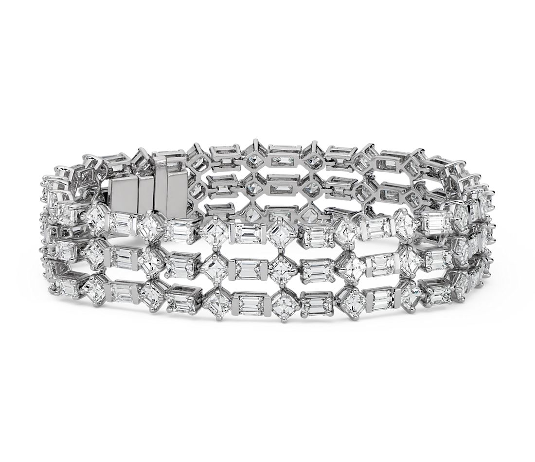 Deco Inspired Three-Row Diamond Eternity Bracelet in Platinum (23.55 ct. tw.)