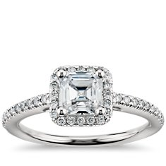 Asscher Cut Halo Diamond Engagement Ring in 18k White Gold