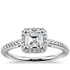 Asscher Cut Halo Diamond Engagement Ring in 14K White Gold