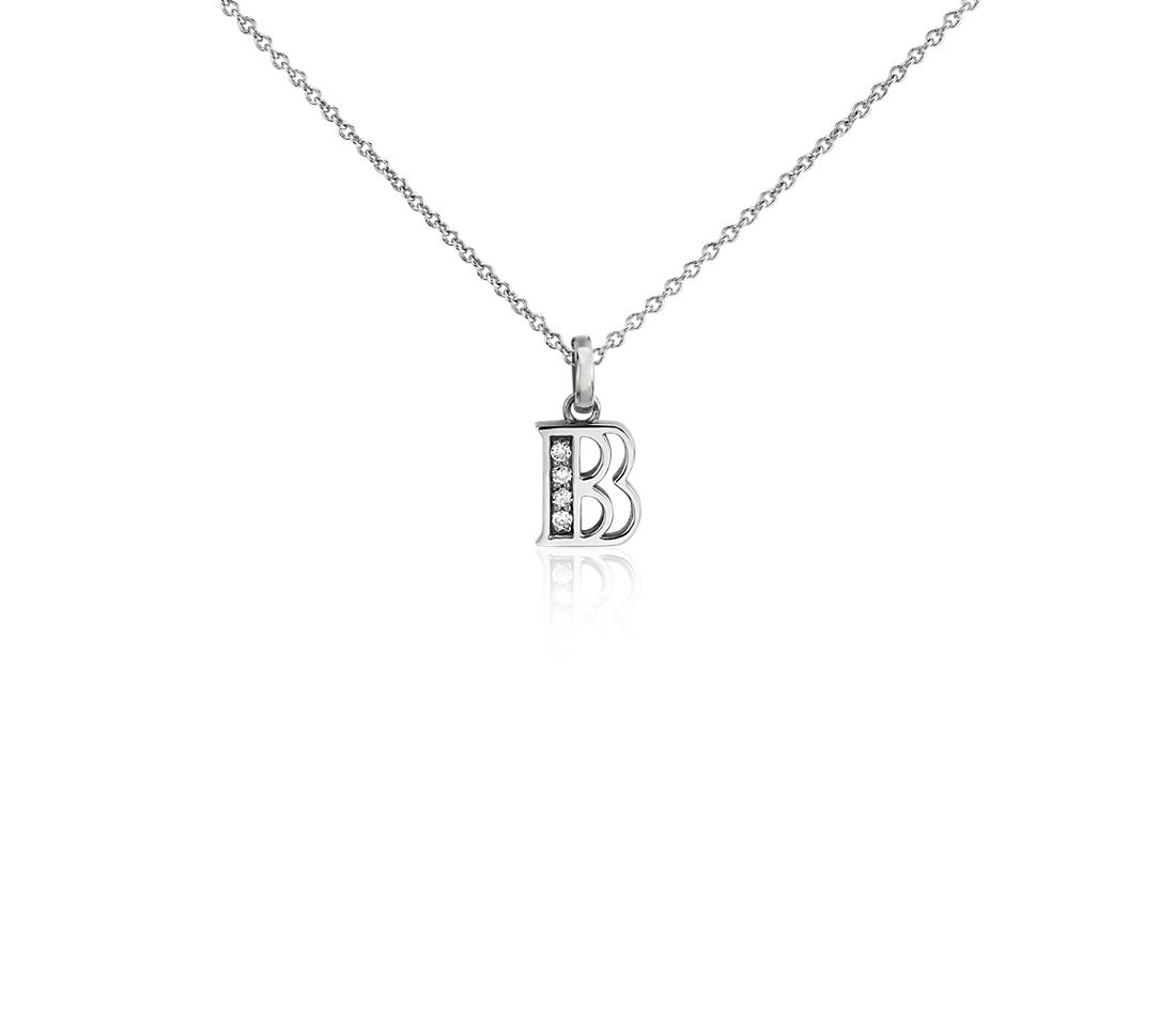 "Mini Initial ""B"" Diamond Pendant in 14k White Gold"