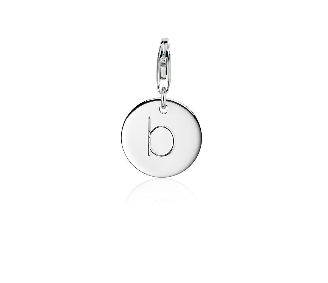 """B"" Initial Charm in Sterling Silver"