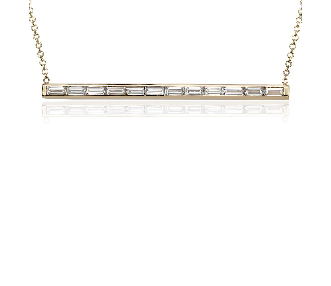 Baguette Diamond Bar Pendant in 14k Yellow Gold  (1.16 ct. tw.)