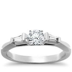 Tapered Baguette Diamond Engagement Ring in Platinum (1/6 ct. tw.)