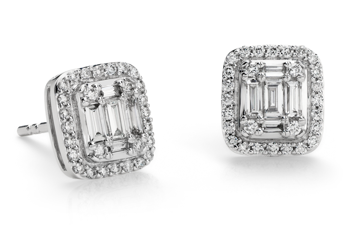 Baguette Diamond Halo Earrings in 18k White Gold (1/2 ct. tw.)