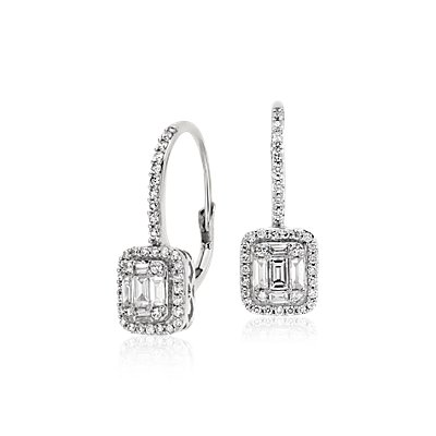 Baguette Diamond Leverback Earrings in 18k White Gold (3/4 ct. tw.)