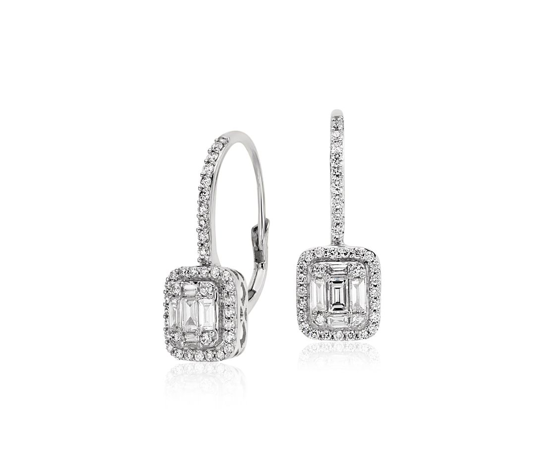 Baguette Diamond Leverback Earrings in 18k White Gold
