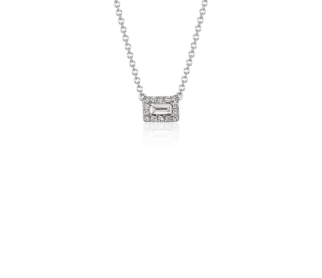 Baguette Diamond Halo Necklace in 14k White Gold