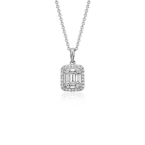 Vintage-Inspired Baguette Halo Pendant in 18k White Gold