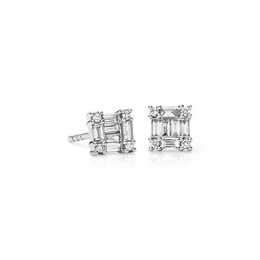 Baguette Diamond  Stud Earrings in 14k White Gold (1/3 ct. tw.)