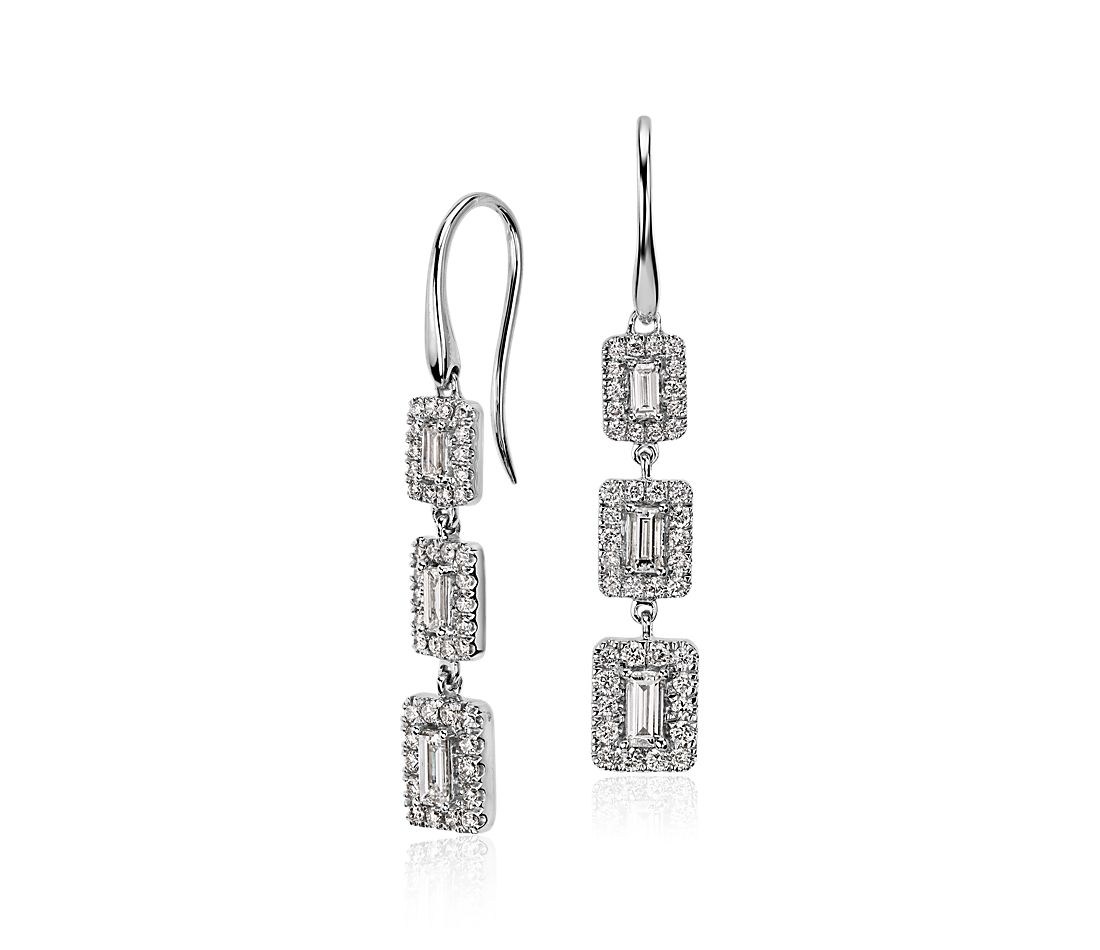 Diamond Baguette Halo Triple Drop Earrings in 14k White Gold